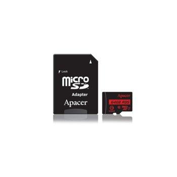 Карта памет 64GB MicroSDXC с адаптер, Apacer, Class 10, UHS-I, скорост на четене 85MB/s, скорост на запис 10MB/s image