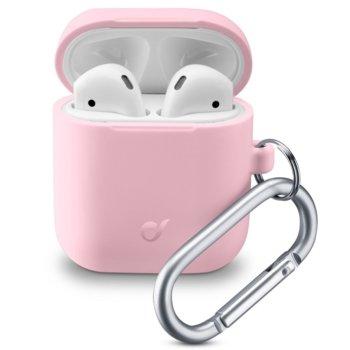 Калъф за слушалки Apple AirPods, Cellular Line Bounce, силиконов, кука за закрепване, розов image