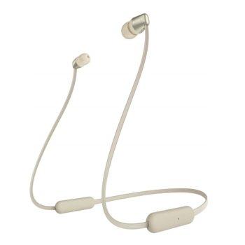 "Слушалки Sony WI-C310 в комплект с слушалки WI-C310(златисти), микрофон, безжични, Bluetooth, до 15 часа време на работа, тип ""тапи"", златисти image"