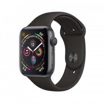 Смарт часовник Apple Watch Series 4, 40mm, (Space Grey), Bluetooth 5.0, Wi-Fi, 16GB, водоустойчив до 50 метра, до 18 часа работа, iOS, с черен Black Sport Band каишка image