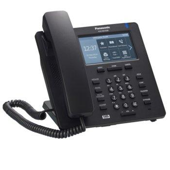 """VoIP телефон Panasonic KX-HDV330, 4.8"""" (12.19 cm) TFT LCD тъч цветен дисплей, Bluetooth, Gigabit Ethernet & PoE, HD Sonic звук, светеща клавиатура, съвместимост със слухов апарат, черен image"""