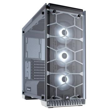 Кутия Corsair Crystal Series 570X (CC-9011110-WW), ATX, 2x USB 3.0, прозорец, бяла, без захранване image
