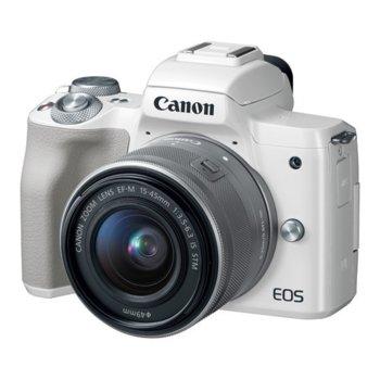 "Фотоапарат Canon EOS M50 (бял) в комплект с обективи Canon EF-M 15-45mm f/3.5-6.3 IS STM и Canon EF-M 55-200mm f/4.5-6.3 IS STM и подарък карта памет SDXC Lexar 64GB, 24,1 Mpix, 3.0"" (7.62 cm) LCD сензорен дисплей, Bluetooth, Wi-Fi, micro USB image"
