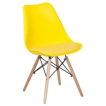 Трапезен стол Carmen 9960, крака от бук и метални подсилващи елементи, жълт  image