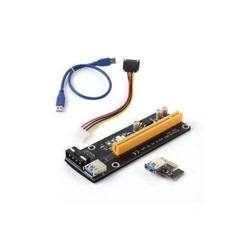 Контролер/екстендер Makki Riser Card 6 Pin, от PCI-E x1 към PCI-E x16 през USB 3.0 image