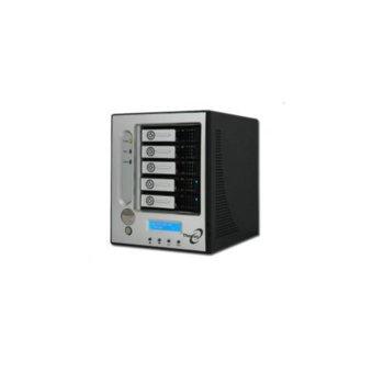 """Мрежови диск (NAS) Thecus I5500, Intel Xscale IOP80331, без твърд диск(5x 3.5"""" SATA), 512MB DDR333 RAM, LCD дисплей, RAID level: 0,1,0+1,3,5,6,10 и JBOD image"""