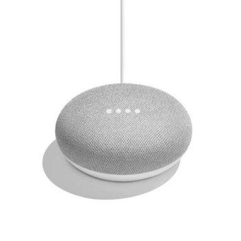 Безжична колонка Google Home Mini Speaker, за Google Home система, микрофон, контрол чрез гласови команди, microUSB, бяла image