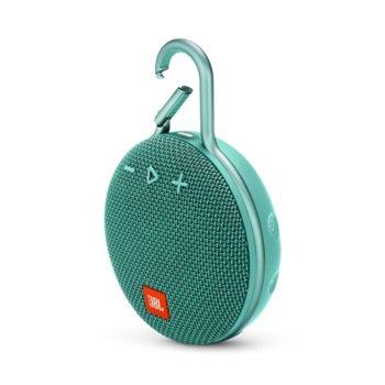 Тонколона JBL Clip 3, 1.0, 3W RMS, безжична, 3.5mm jack/Bluetooth, светлозелена, микрофон, IPX7, до 10 часа работа image