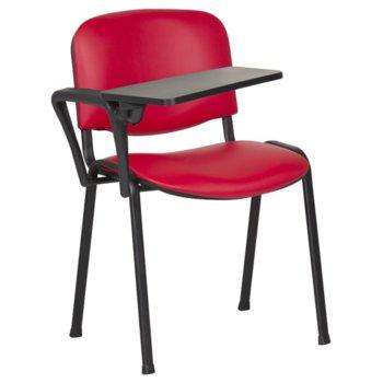 Посетителски стол Carmen 1141 LUX, метални крака, полипропиленова масичка за писане, еко кожа, червен image