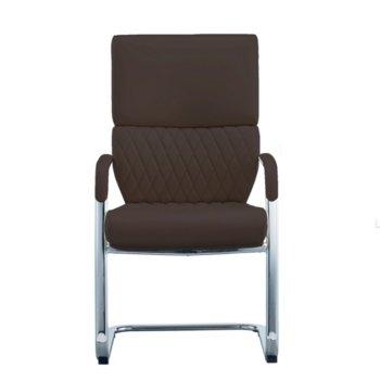 Посетителски стол RFG GRANDE M, екокожа, кафяв, 2 броя в комплект image