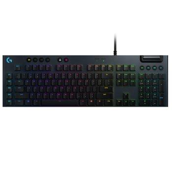 Клавиатура Logitech G815, геймърска, механична, clicky суичове, RGB подсветка, нископрофилни клавиши, US layout, черна, USB image