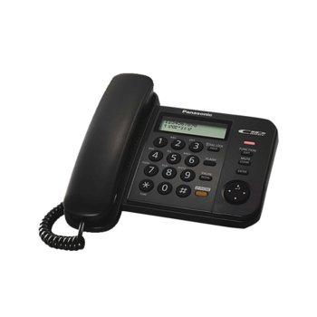 Стационарен телефон Panasonic KX-TS580FXB, LCD черно-бял дисплей, черен image