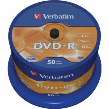Оптичен носител DVD-R media 4.7GB, Verbatim, 16x, 50бр. image