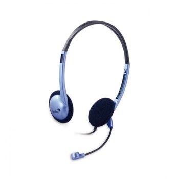 Слушалки Genius HS-02B, микрофон, 1.8 кабел, 3.5 mm jack, сини image