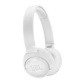 Слушалки JBL TUNE600BTNC, безжични, микрофон, до 22 часа работа, бели image