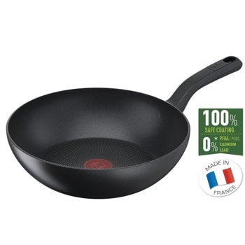 Уок тиган Tefal So Chef WOK28 G2671972, 28 cm диаметър, незалепващо титаниево покритие, алуминий, температурен индикатор Thermo-Spot, черен image
