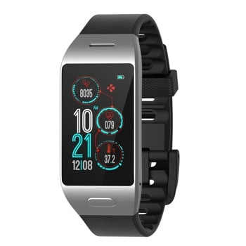 "Смарт часовник MyKronoz ZeNeo+, 1.14"" (2.89 cm) IPS дисплей, до 4 дни време за работа, Bluetooth, водоустойчив IP56, сребрист/черен image"