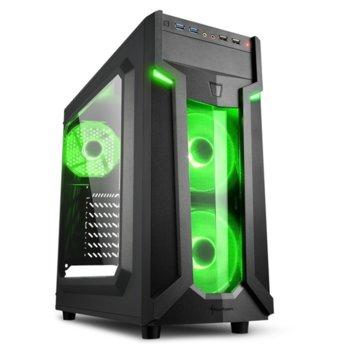 Кутия Sharkoon Middle VG6-W Greem Led, ATX/Mini ITX/Micro-ATX, 2x USB 3.0, 2x USB 2.0, прозорец, 2x вентилатора отпред, 1х вентиалтор отзад, черна, с зелена LED подсветка, без захранване image