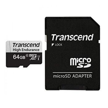 Карта памет 64GB microSDXC с адаптер, Transcend TS64GUSD350V, Class 10, скорост на четене 95MB/s, скорост на запис 45 MB/s image