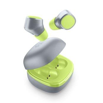Слушалки Cellularline Evade, безжични, микрофон, със зареждащ кейс, сиво-зелени image
