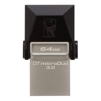 Памет 64GB USB Flash Drive, Kingston DataTraveler microDuo 3.0/USB 3.0/OTG, сребриста image