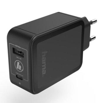 Зарядно устройство Hama GaN, от контакт към USB Type A(ж) и USB Type C(ж), 12V, 2.5A, черно, LED индикатор image