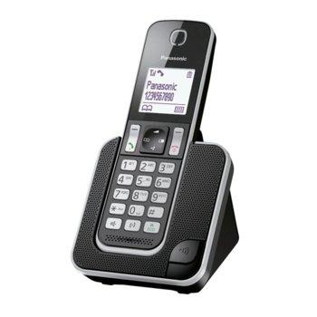 """Безжичен телефон Panasonic KX-TGD310FXB, 1.8"""" (4.6cm) черно-бял дисплей, черен image"""