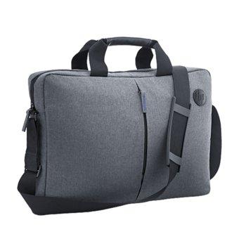 "Чанта за лаптоп HP Value Topload Case (K0B38AA), до 15.6"" (39.62 cm), полиестер, сива image"