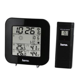 Електронна метеостанция HAMA EWS-200, термометър, барометър, хигрометър, час, аларма, черна image