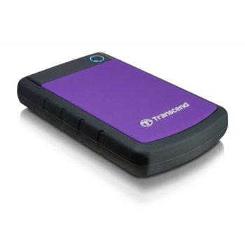 """Твърд диск 1TB Transcend StoreJet 25H3P, лилав, 2.5"""" (6.35 cm), външен, удароусточив, USB3.0 (+захранване през USB) image"""