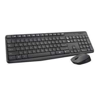 Комплект клавиатура и мишка Logitech MK235, безжични, нископрофилни клавиши, до 10м обхват, USB, сивa, кирилизация по БДС! image