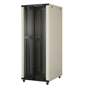 """Комуникационен шкаф Lande LN-CK42U8010-BL, 19"""", 42U, 800 x 1000 мм, стъклена врата, LCD термометър, черен image"""