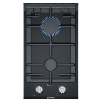 Газов плот Bosch PRB3A6D70, стъклокерамика, дигитален дисплей, регулиране на пламъка в 9 степени на мощност, FlameSelect, 2 нагревателни зони, черен image