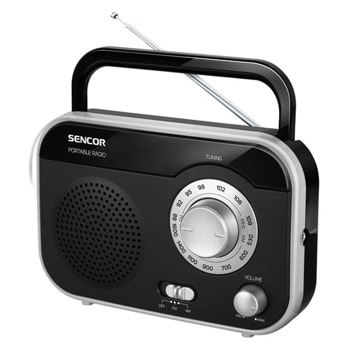 Радио Sencor SPT 2320, 1.0, 1W, Аналогов AM/FM приемник, AM 530 – 1600 kHz, FM 87.5 – 108 MHz, AUX, черно image