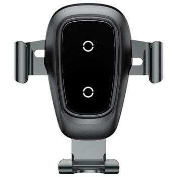 """Стойка за телефон Baseus Metal Gravity, универсална, за телефони от 4 до 6.5"""", за кола, Qi зареждане, черна image"""