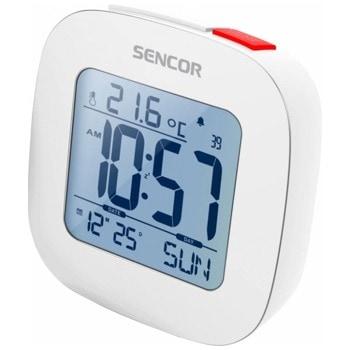 Часовник/будилник Sencor SDC 1200 W, цифров настолен часовник с термометър, календар, функция Snooze, двойна аларма със зумер, функция за нощно осветление, бял image