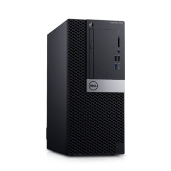 Настолен компютър Dell Optiplex 7070 MT (N010O7070MT_UBU), осемядрен Coffee Lake Intel Core i7-9700 3.0/4.7 GHz, AMD Radeon RX 550 4GB, 16GB DDR4, 256GB SSD, 5x USB 3.1, клавиатура и мишка, Linux image