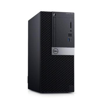 Настолен компютър Dell Optiplex 7070 MT (N010O7070MT_UBU), осемядрен Coffee Lake Intel Core i7-9700 3.0/4.7 GHz, AMD Radeon RX 550 4GB, 16GB DDR4, 256GB SSD, 5x USB 3.1, клавиатура и мишка, Linux image