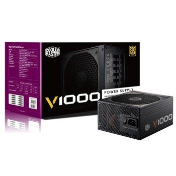 Захранване 1000W CoolerMaster V1000 Vanguard, модулно, Active PFC, 80+ Gold, 135mm вентилатор, 5г. гаранция image
