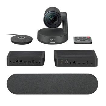 Конферентна камера Logitech Rally Ultra-HD ConferenceCam, 4K/UHD, вграден микрофон, управляема (PTZ), LAN, HDMI, USB, image