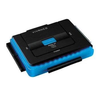 """Кутия 3.5"""" (8.89 cm) Vivanco 31952, за 2.5""""/3.5"""" SATA HDD, USB 2.0, черен  image"""