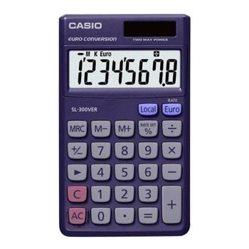 Калкулатор Casio SL-300VER, 8-цифрен EXTRA BIG LC-дисплей, про-процент, преобразуване на валута, син image