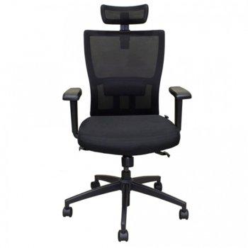 Работен стол Vaseat Krit, пластмасови подлакътници, седалка от мемори пяна, облегалка за глава, газов амортисьор, коригиране на височината, черен image