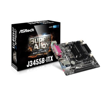 Дънна платка ASRock J3455B-ITX, вграден четириядрен Apollo Lake Intel Celeron J3455 1.5/2.3 GHz, PCI-E (HDMI&DVI), DDR4, LAN, 2x SATA3 6.0 Gb/s, 3x USB 3.1 Gen1, Mini ITX image