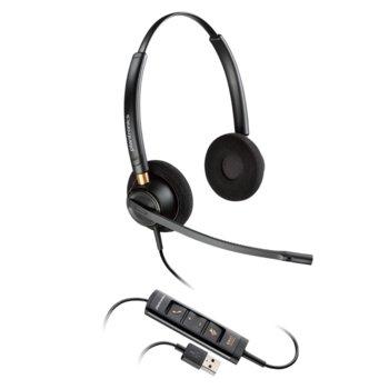 Слушалки Plantronics EncorePro 525, микрофон, професионални, Wideband аудио, USB, черен image