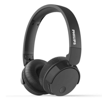 Слушалки Philips BASS+ (TABH305BK), безжични, микрофон, 32mm мембрани, изцяло сгъващи се, черни image