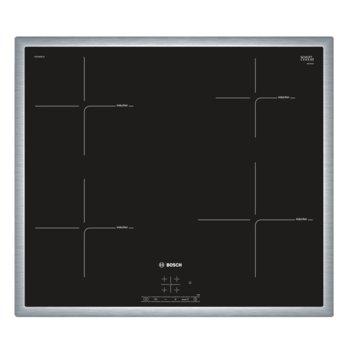 Стъклокерамичен плот за вграждане Bosch PUE645BF1E, 4 нагревателни индукционни зони, TopControl дигитален дисплей, защита за деца, TouchSelect, черен image