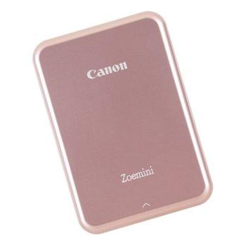 Мобилен принтер Canon Zoemini, термосублимационен, 314x400 dpi, Bluetooth 4.0, вградена презареждаема батерия(500mAh), 5x7.6cm хартия, USB, розово злато image