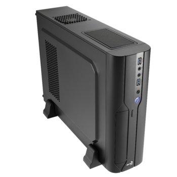 Кутия AeroCool CS-101, Micro-ATX, 2x USB 3.0, 1x 80mm вентилатор, Slim tower, черна, без захранване image