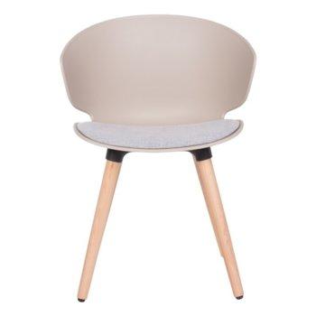 Трапезен стол Carmen 9969, пластмаса, дамаска, бук, бежов image